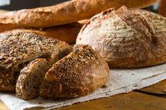 Loaf of brown multigrain bread Stock Photos