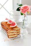 Loaf cake with cream cheese and grapefruit jam Stock Images