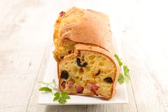 Loaf cake. With ham and olive Stock Photo