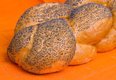 Loaf of challah on an orange napkin Royalty Free Stock Photo