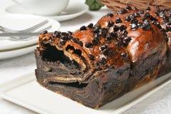 Loaf of chocolate babka Stock Photo