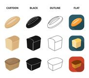 Loaf cut, bagel, rectangular dark, half a loaf. Bread set collection icons in cartoon,black,outline,flat style vector. Loaf cut, bagel, rectangular dark, half a Royalty Free Stock Photo