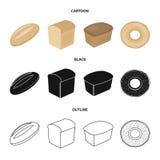 Loaf cut, bagel, rectangular dark, half a loaf. Bread set collection icons in cartoon,black,outline style vector symbol. Loaf cut, bagel, rectangular dark, half Stock Photo