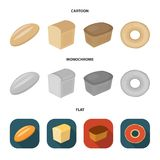 Loaf cut, bagel, rectangular dark, half a loaf. Bread set collection icons in cartoon,flat,monochrome style vector. Loaf cut, bagel, rectangular dark, half a Stock Images