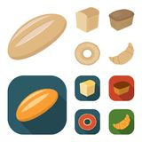 Loaf cut, bagel, rectangular dark, half a loaf. Bread set collection icons in cartoon,flat style vector symbol stock. Loaf cut, bagel, rectangular dark, half a Royalty Free Stock Photos