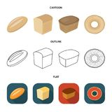 Loaf cut, bagel, rectangular dark, half a loaf. Bread set collection icons in cartoon,outline,flat style vector symbol. Loaf cut, bagel, rectangular dark, half a Royalty Free Stock Photos