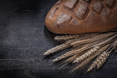 Loaf of fresh-baked brown bread wheat rye ears on wooden board Stock Images