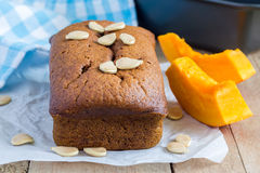 Loaf of fresh baked homemade pumpkin bread Stock Photos