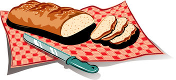 Loaf of fresh bread. Loaf of fresh bread on a gingham tablecloth Stock Images