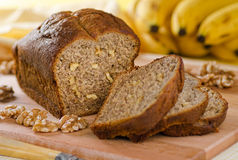 Banana Bread Nut Loaf. A loaf of freshly baked banana bread with walnuts stock photography