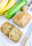 Loaf of homemade banana zucchini bread with walnuts Stock Images