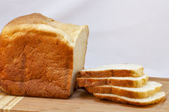 Loaf of homemade white bread sliced Royalty Free Stock Photos