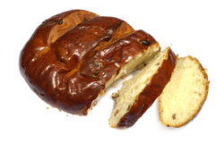 Loaf with raisins on white Royalty Free Stock Image