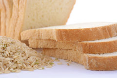 Loaf Rice Sourdough bread with raw brown rice. Royalty Free Stock Image