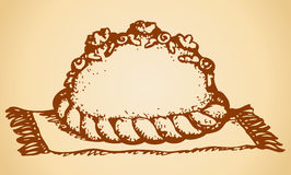 Loaf on rushnyk. Vector drawings Royalty Free Stock Image
