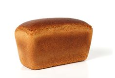 Loaf of rye bread. Is isolated on the white background Stock Photos
