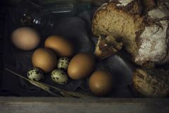 Loaf of rye bread with chicken eggs in wooden box. The Loaf of rye bread with chicken eggs in wooden box Royalty Free Stock Photos