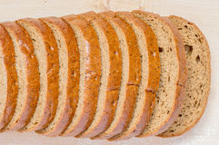 Loaf rye bread, cut into pieces Royalty Free Stock Photo