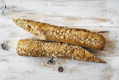 Loaf of rye and seed wholemeal. Royalty Free Stock Images