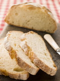 Loaf and Slices of American Sour Dough Bread Royalty Free Stock Photo