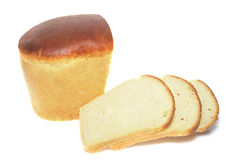 Loaf and Slices of White Bread Stock Photography