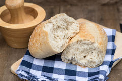 Loaf of sourdough bread in rustic kitchend setting Stock Photography