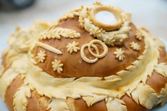 Loaf at the wedding. Loaf at a wedding in the street in winter closeup stock image