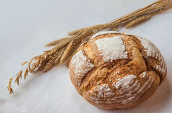 Loaf of wheat bread and a sheaf Stock Photography