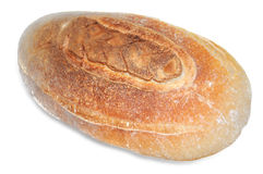 Loaf of wheat bread on white. stock photo