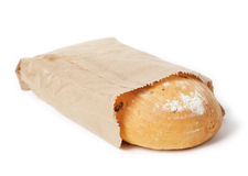 Loaf of white bread in  paper bag Royalty Free Stock Photography