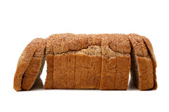 A loaf of whole grain bread on white Royalty Free Stock Photo