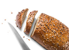 Loaf of Wholemeal Bread and Knife Royalty Free Stock Image