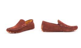 Loafers Брайна мужские кожаные спаривают изолированный на белой предпосылке Стоковые Фото