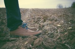 Loafers on feet standing in field Royalty Free Stock Images