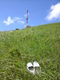 Loafers on the mountain Mashuk. My loafers are on the green grass of the mount Mashuk Royalty Free Stock Photo