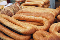 Loafs of long bagels Stock Image