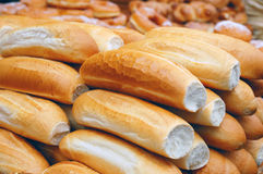 Loafs on market stand Stock Photos