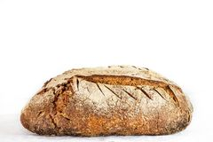 Free Loafs Or Miche Of French Sourdough, Called As Well As Pain De Campagne, On Display Isolated On A White Background. Stock Photo - 147666120