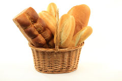 Loafs of Special Breads in basket. Still life picture group Loafs of Special Breads - Egg Bread, Garlic Breads, Cheddar Cheese Bread and French Bread (Baguette Royalty Free Stock Photo