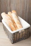 Loafs of traditional French bread baguette stocked in woven bask Stock Photography
