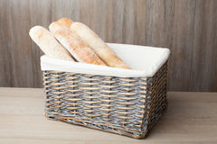 Loafs of traditional French bread baguette stocked in woven bask Royalty Free Stock Photos