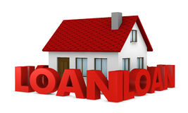 Loan. One house with a wall around it made with the word loan (3d render Stock Photography