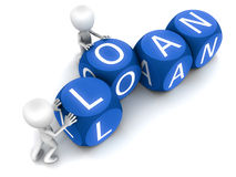 Loan. Word being put together by little cute 3d men on white background, blue word blocks Stock Photos