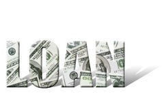 Loan. Word with superimposed one hundred dollar bill background over white Royalty Free Stock Photography