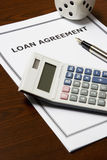Loan Agreement. Image of a loan agreement on an office table stock photo