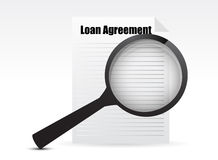 Loan Agreement and Magnifying Glass Royalty Free Stock Photo