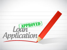 Loan application approved sign message Stock Photos
