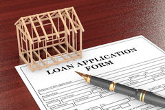 Loan Application Form with House Frame and pen Stock Photos