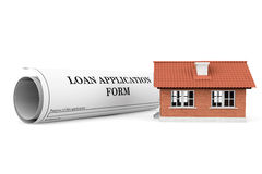 Loan Application Form with House Stock Image