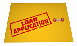 Loan Application Yellow Envelope Stamped Words. 3D Stock Photo